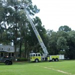 Fire truck with ladder extended